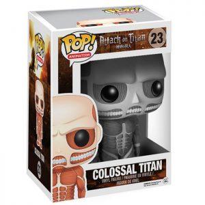 Figura de colosal de Titán en blanco y negro (Ataque a los Titanes)
