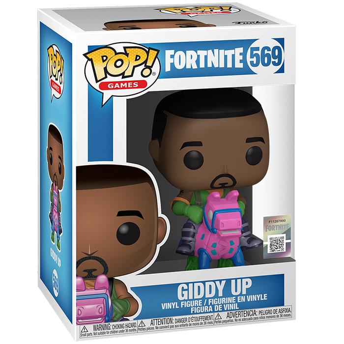 Figura de Funko Pop Giddy Up (Fortnite) en su caja