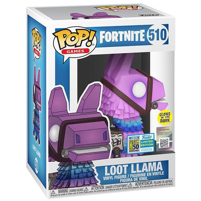 Figura de Funko Pop Loot Llama brilla en la oscuridad (Fortnite) en su caja
