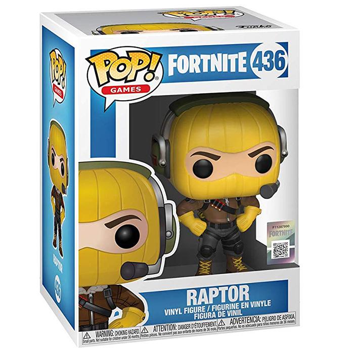 Figura de Funko Pop Raptor (Fortnite) en su caja