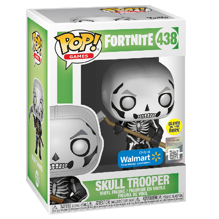 Figura de Funko Pop Skull Trooper Glows In The Dark (Fortnite) en su caja